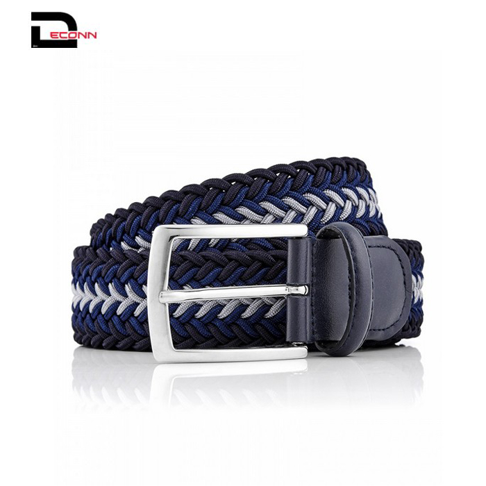colorful Mens Multicolor Elastic Fabric Woven Braided Stretch Webbed Belt with PU Leather Buckle Length 105cm - 副本