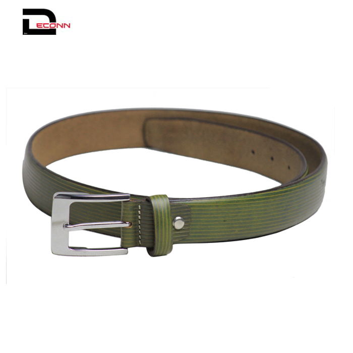 Mens Skinny PU Leather Belt Silver Polished Buckle  Formal Casual Dress  - 副本