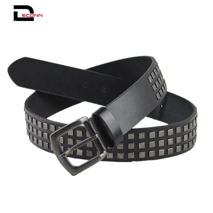 Snap On Three Row Punk Rock Star Metal Silver Studded Full Grain Cowhide Leather Belt - 副本 - 副本