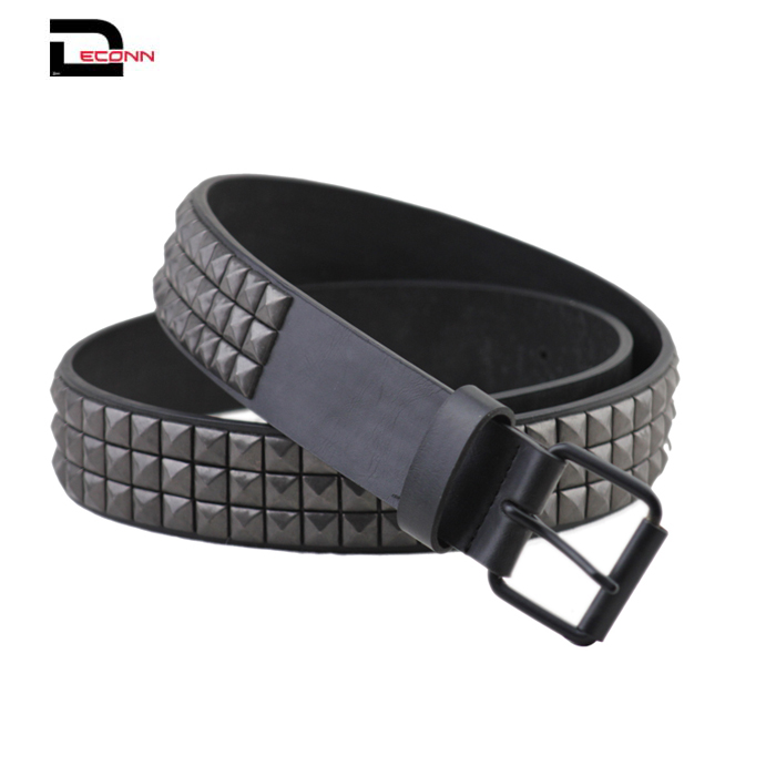 Classical Three Row of Punk Rock Star Metal Black Studded Leather Belt  - 副本