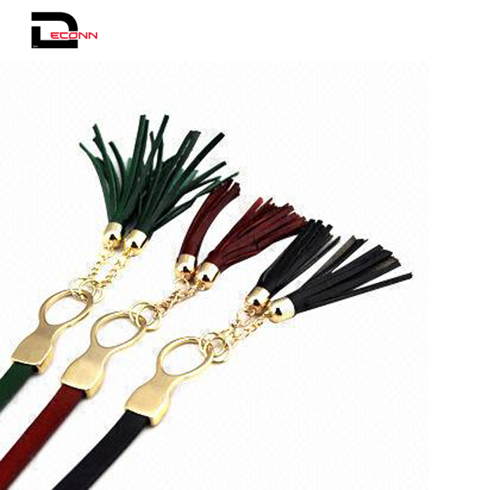 Women's Fashion Tassel Thin Genuine Leather  Belt For Dress Bowknot Waist Chain - 副本