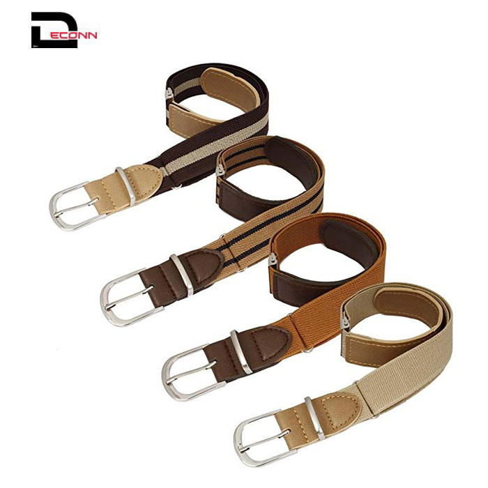 Boys 4pc Assorted Color Adjustable Elastic Band With Leather Loop Belt Set - 副本