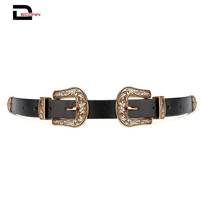 Women Vintage Western Boho Leather Belts with Metal Buckle - 副本