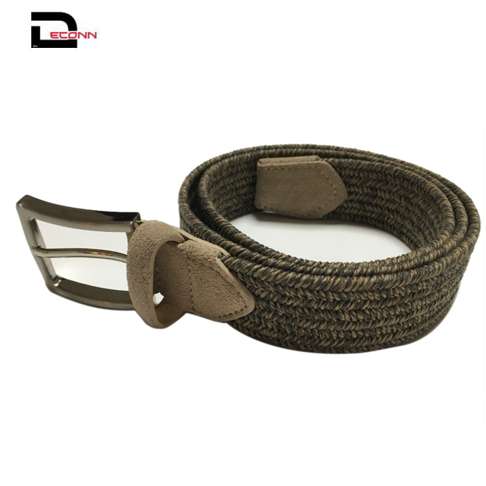 Mens Casual  Woven Braided Cotton Elastic belt  - 副本