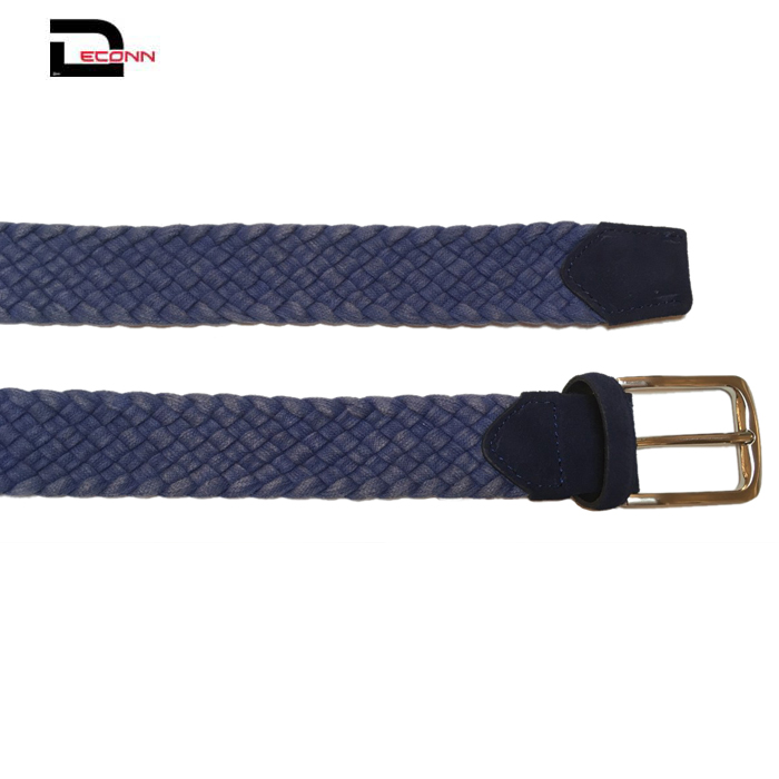 Woven Braided Cotton Belt with pin zin alloy buckle for men   - 副本