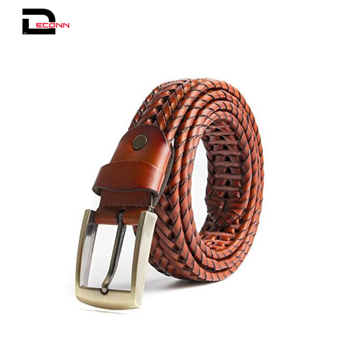 Men Braided Woven Second layer Leather Belt With Pin Buckle  - 副本