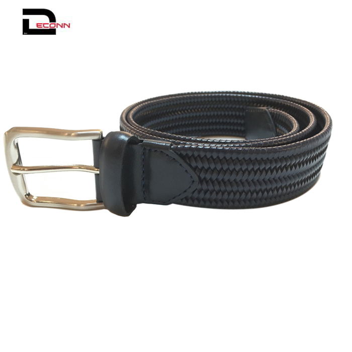 Men casual high quality leather braided knit braided woven belt with pin buckle  - 副本