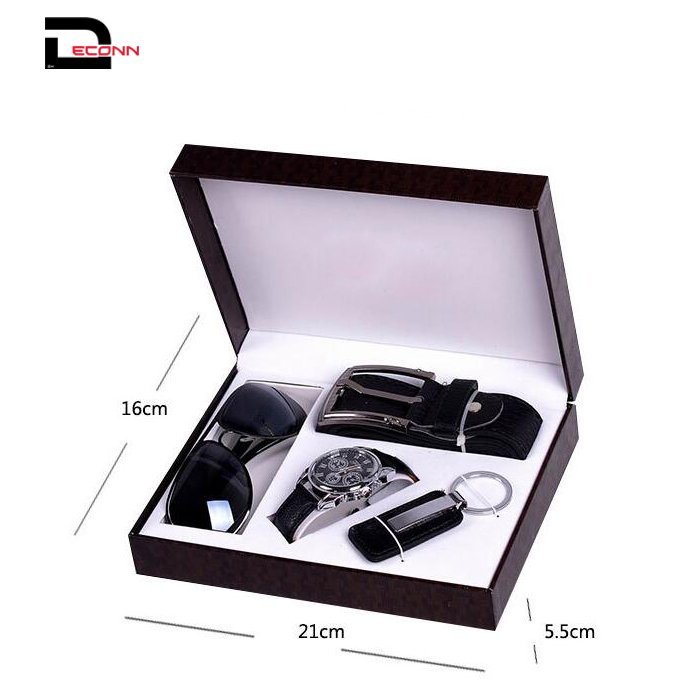 Mens Black Artificial Leather Belt Watch Key Chain Sun glass Set with Box Organizer   - 副本