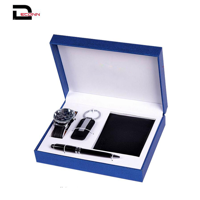 Mens FashionBlue Artificial Leather wallet Watch Key Chain Pen Gift Set with Box Organizer   - 副本