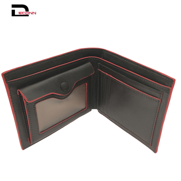 Men Black Leather Credit card bifold  wallet purse with 1 ID Card Coins Notes - 副本