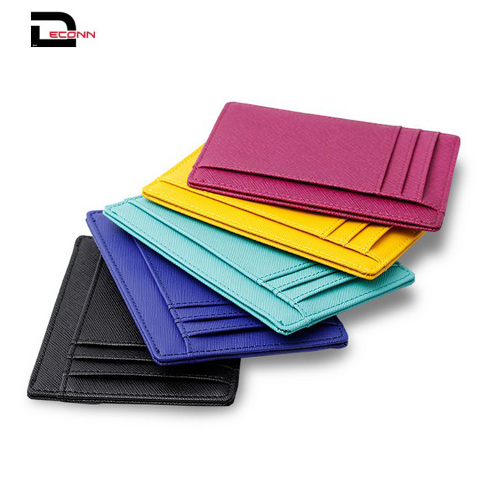 Fashion slim minimalist leather cardholder front pocket with RIFID blocking for men women  - 副本
