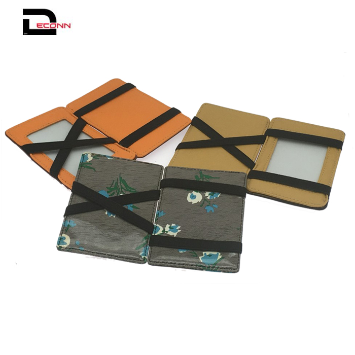 China wholesale slim smart credit card holder pu leather elastic magic wallet  - 副本