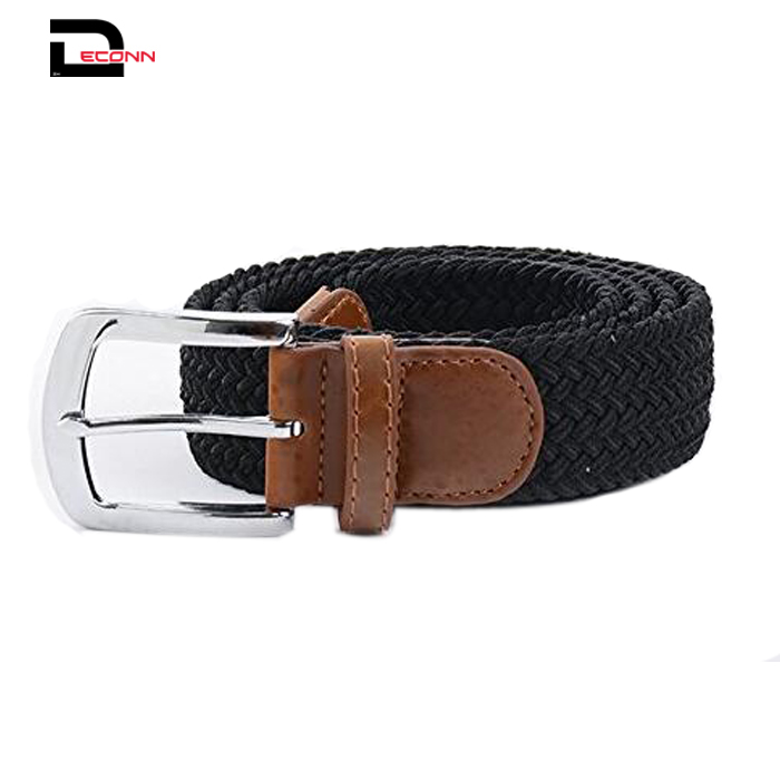Men's Stretch Braided Belts Woven Elastic Belt with Silver Metal Buckle and Leather Tipped End