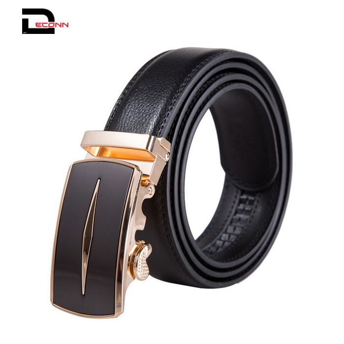 Men's Solid Buckle with Automatic Ratchet Leather Belt