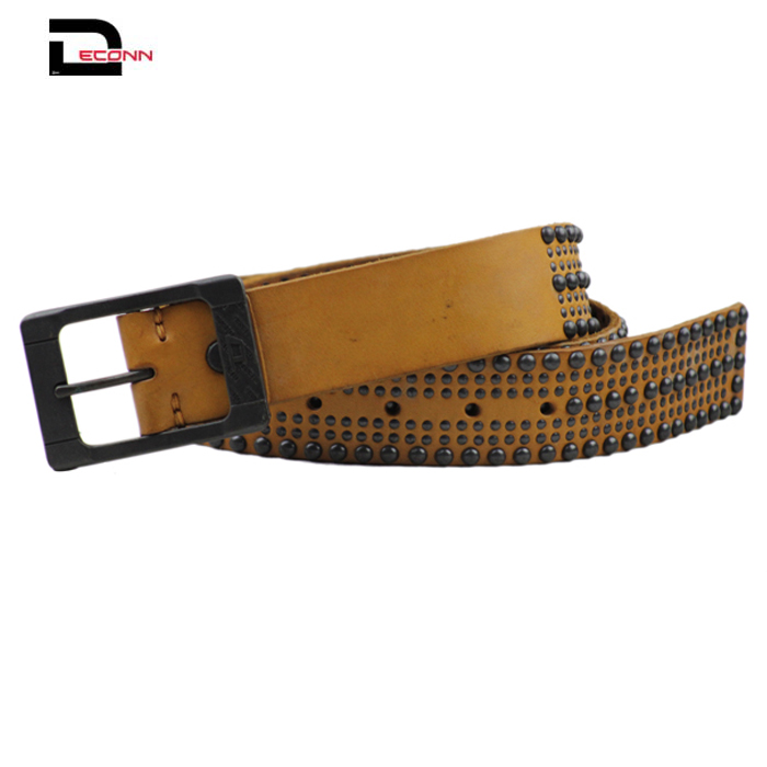 Men's snap on Antique Silver Circle Metal Studded Distressed Leather Belt