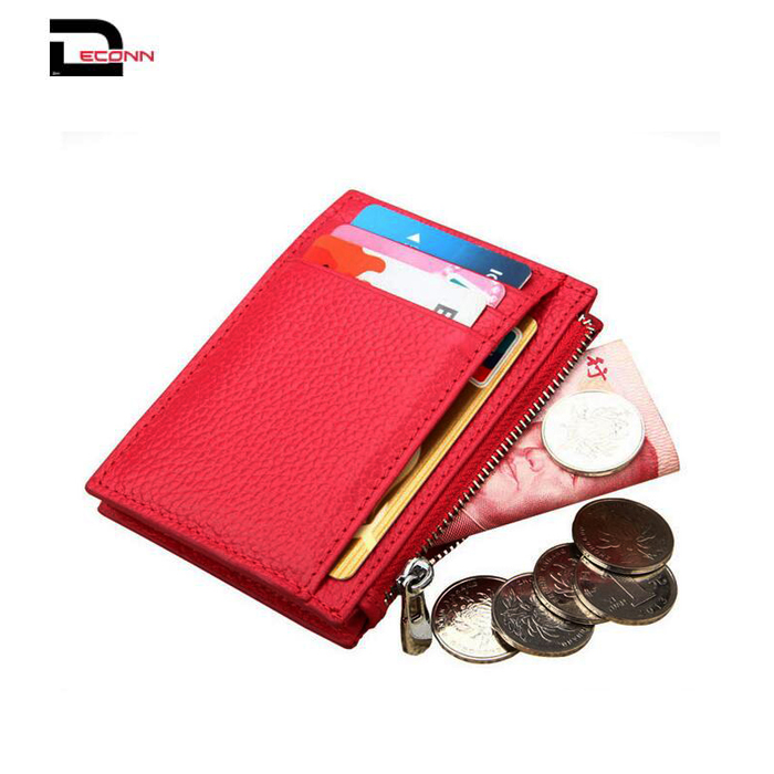 Online hot sell RFID blocking genuine leather credit card holder pocket wallet with zip coin pocket