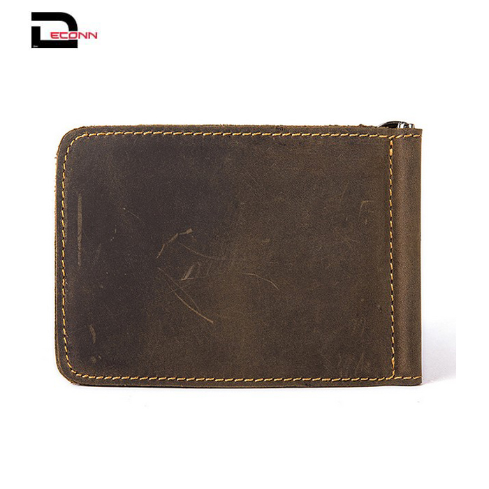 Mens High quality crazy horse genuine leather credit card holder slim RFID pocket money clip wallet